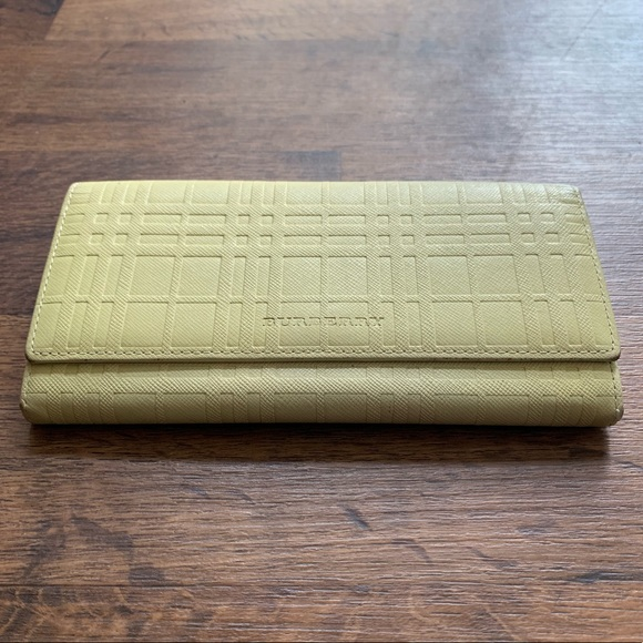 Burberry Handbags - Burberry Leather Yellow Check Wallet Clutch